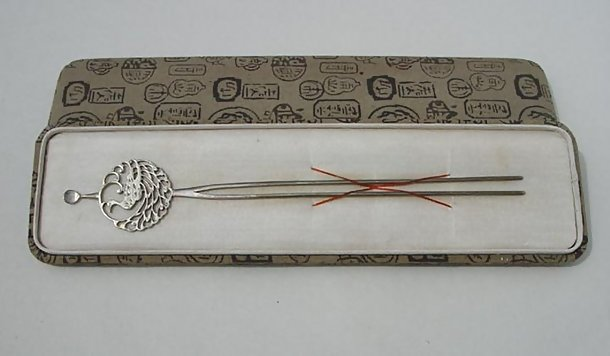 Old Japanese Kanzashi Silver Hairpin