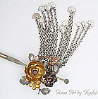 Antique Silver Bira-bira Kanzashi Hair Pin with Peony