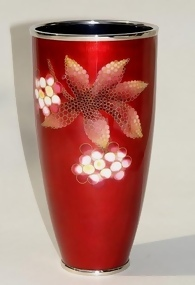 Japanese Cloisonne Red Beaker Vase by Ando