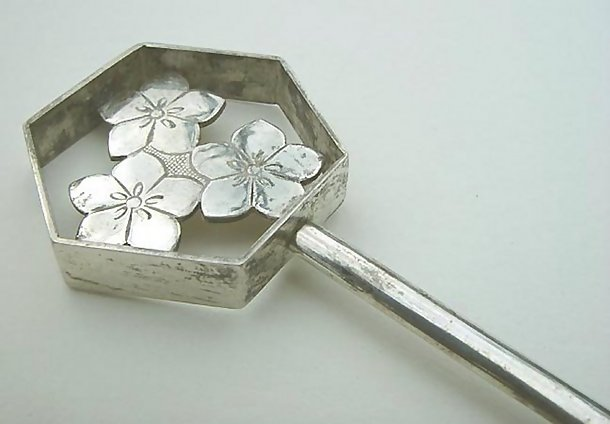 Antique Silver Kanzashi, Large Geisha Hairpin