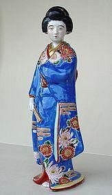 Kutani Bijin doll in Blue Kimono