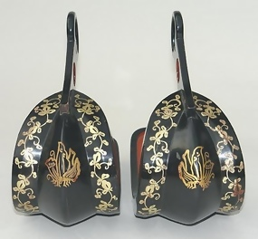 Japanese Antique Abumi (Stirrups), Butterfly Crest