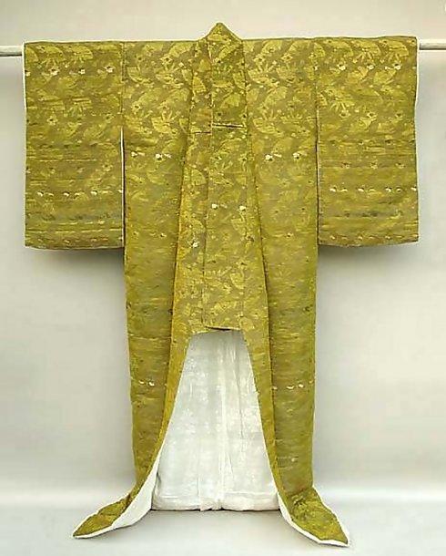 Antique Japanese Silk Uchikake,  Woven Kimono Gown
