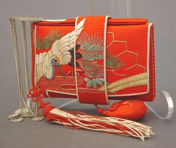 Beautiful Red Antique Japanese Tissue Holder, Kanzashi