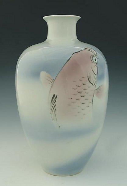 Japanese Fukagawa Koransha Vase with Leaping Carp