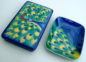Ando Japanese Cloisonne Box and Tray with Peacock