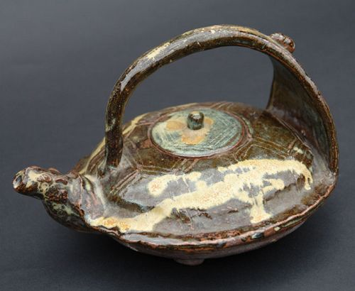 Turtle Shape Japanese Ceramic Sake Kettle, Joka