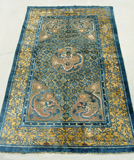 Antique Chinese Rug, Silk and Metal Carpet with Dragons