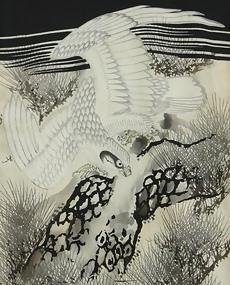 Baby's Antique Black Kimono, Falcon on a Pine Tree