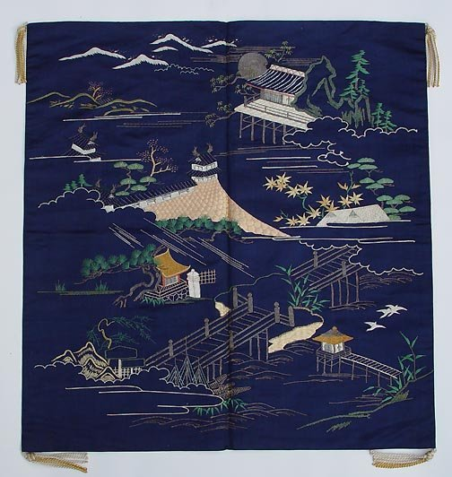 Antique Japanese Fukusa with The Eight Views of Omi
