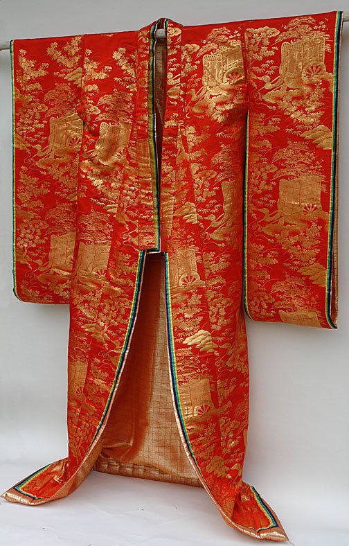 Red Japanese Wedding Gown, Juni-Hitoe Ceremonial Style