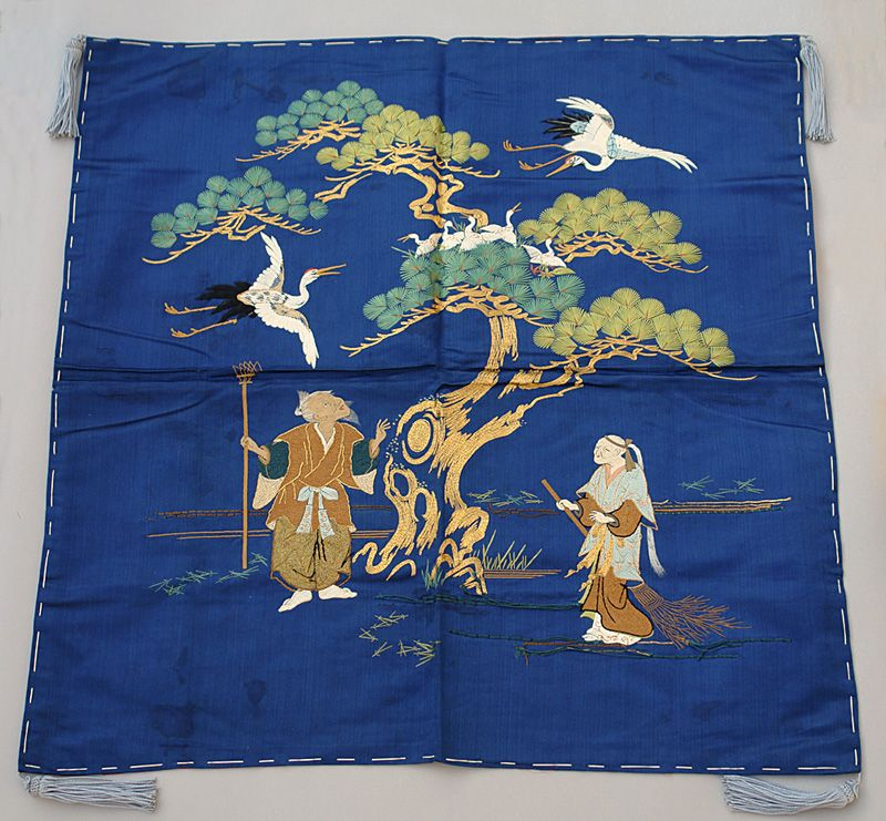 Antique Japanese Fukusa Gift Cover, Noh Takasago