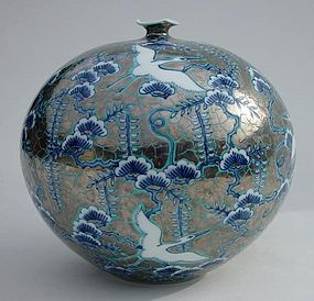 Beautiful Japanese Arita Vase, Flying Herons