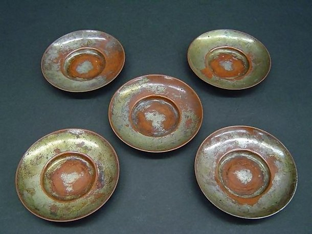 Old Copper Dish Set for Sencha, Tea Ceremony