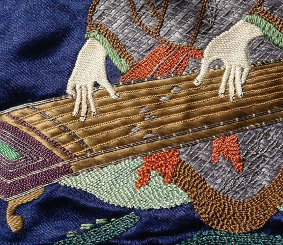 Old Japanese Fukusa Gift Cover, Koto Player in Forest