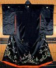 Antique Black Silk Japanese Wedding Kimono, embroidery