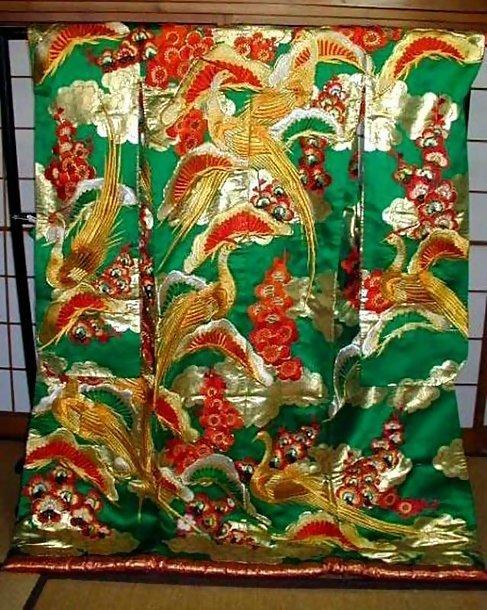 Green Japanese Wedding Kimono