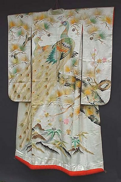 White Japanese Wedding Kimono with Peacock