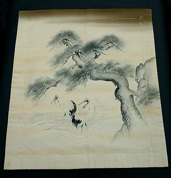 Japanese Fukusa - Cranes, Pine Tree in Sumie Black Ink