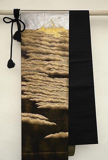 Japanese Black Obi, Mt. Fuji, Golden Clouds, Wall Decor