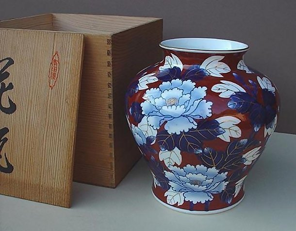 Large Japanese Arita Vase, Old Fukagawa-yaki Style