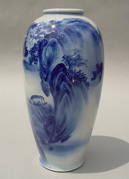 Japanese Arita Vase, Hand Painted Sansui-ga