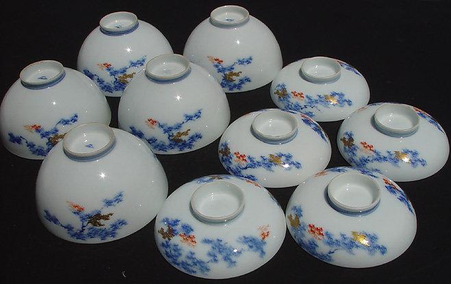 Japanese Fukagawa Bowls with Maple Tree Design
