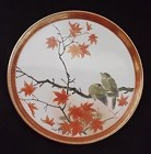 Japanese Kutani Flat Plate with a Pair of Birds