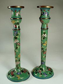 Antique Chinese Cloisonne Candlesticks, a pair
