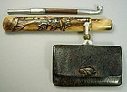 Antique Tobacco Pouch, Eagle on Pipe Case