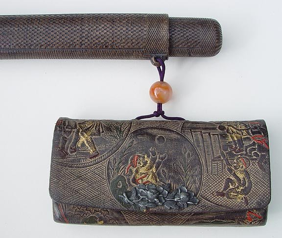 Japanese Leather Tobacco Pouch with  Pipe Case