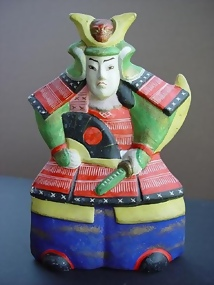 Japanese Clay Doll, Samurai Warrior in Armor