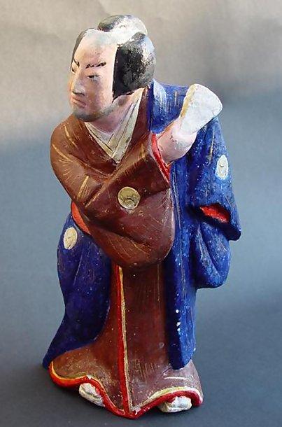 Japanese Clay Doll - Kabuki Samurai