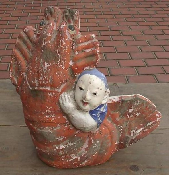 Japanese Clay Doll - Lobster and Boy