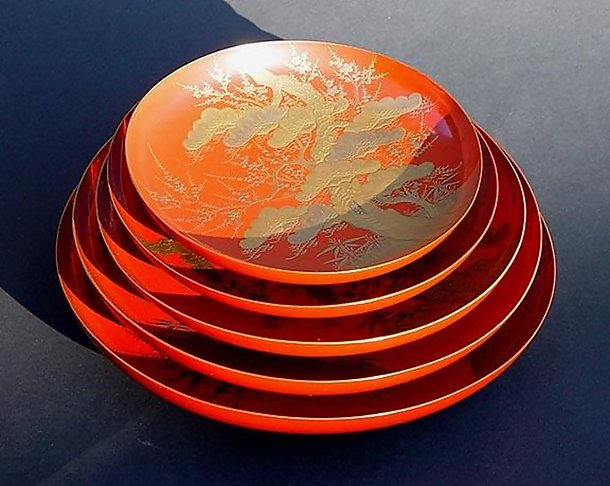 Japanese Lacquer Sake Wine Dishes Makie Set of Five