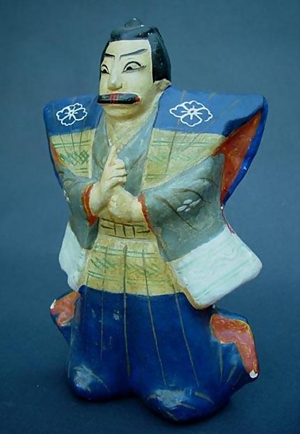 Japanese Clay Doll Folk Art, Villain from Kabuki Play