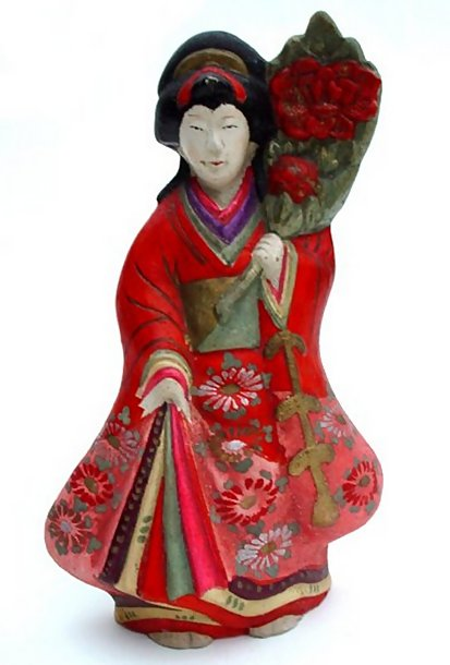 Japanese Clay Doll, Lovely Standing Girl