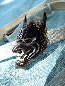 Japanese Obidome Accessory , Noh Hannya Mask