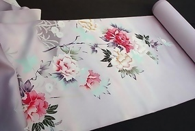 Peonies on a  Lavender Silk Kimono Roll, Yuzen zome