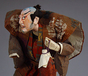 Antique Takeda Ningyo (doll), Kabuki Samurai