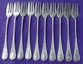 LOVELY GORHAM STERLING HINDOSTANEE COCKTAIL FORKS (10)
