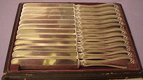PLATED BOXED SET -12- 'BEAD' BREAKFAST/TEA KNIVES