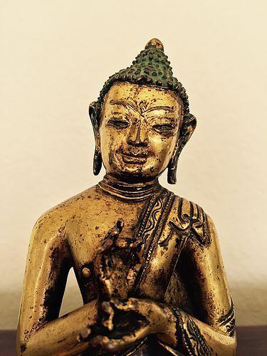 15th/16th Century Gilt Bronze Figure of Buddha