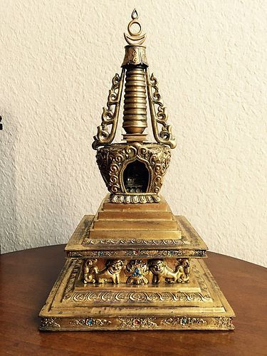 A Gilt on Copper Stupa: 18th/19th Century Tibet