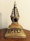 A Gilt on Copper Stupa: 18th/19th Century Tibet