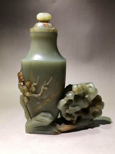Chinese carved flower jade vase