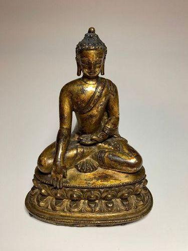 16th c Chinese Tibet Gilt Bronze Buddha