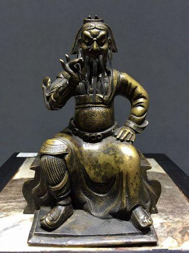 18 c Chinese Bronze Figure of Guandi