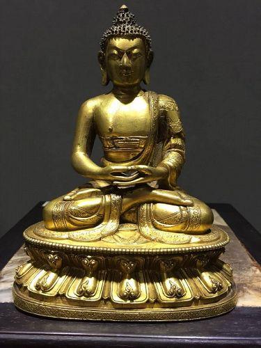 17th c Chinese Gilt Bronze Buddha