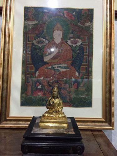 13th c Tibet Gilt Bronze Lama